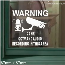 1 x CCTV Camera & AUDIO Recording Area-87mm-Video In Operation-Security Warning Stickers-Self Adhesive Vinyl Signs